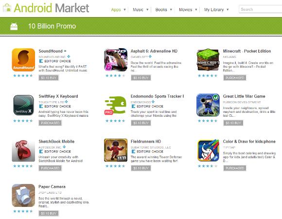 10 Billion Downloads! - Android マーケット